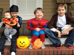 Halloween 2014--Jose, Frack (some kind of Spiderman), Frog (another kind of Spiderman) and Frick--Jedi.